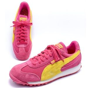 Puma 7.5 Pink Yellow Suede Mesh Retro Sneakers